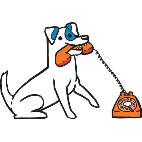 jack russell terrier illustration with a rotary phone