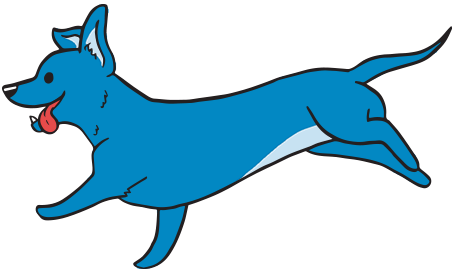 Blue Dog Running Illustration